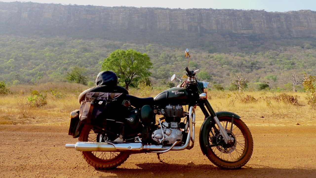 The Royal Enfield looking sensational in outback West Africa