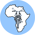 Oblivious logo of motorbike in an outline of Africa